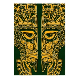 Yellow Mayan Twins Mask Illusion on Green Business Card