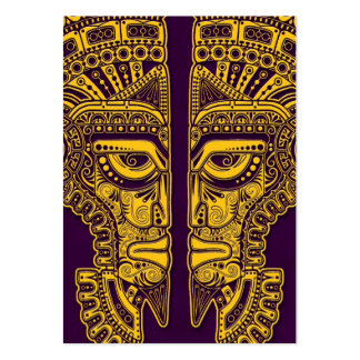 Yellow Mayan Twins Mask Illusion on Purple Business Card Template