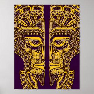 Yellow Mayan Twins Mask Illusion on Purple Posters
