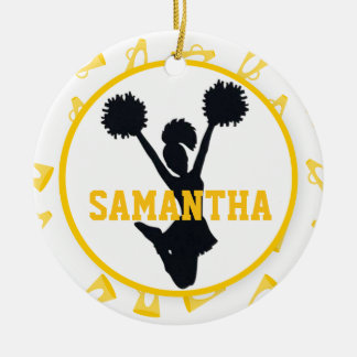 Yellow Megaphones and Cheerleader Personalized Christmas Ornament