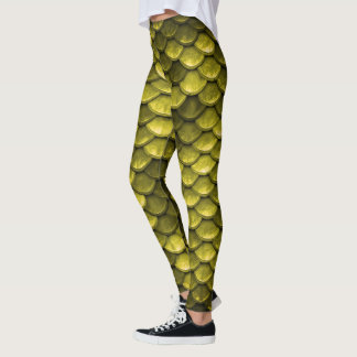 Yellow Mermaid Fish Scales Pattern Leggings
