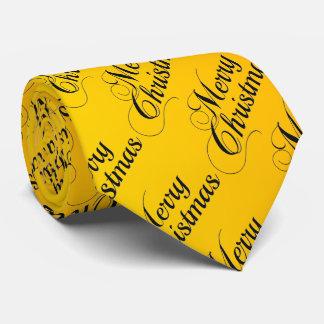 Yellow Merry Christmas Tie