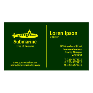 Yellow Middle Rule - Submarine - Dark Green Pack Of Standard Business Cards