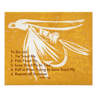 """""""Yellow Midge Trout Fly To Do List"""" Wet Fly Poster"""