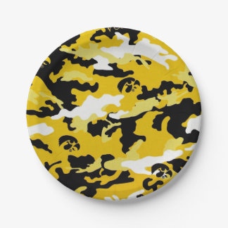 yellow military camouflage textures paper plate