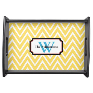 Yellow Modern Chevron Monogram Serving Tray