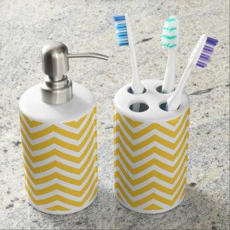 Yellow Modern Chevron Soap Dispenser And Toothbrush Holder