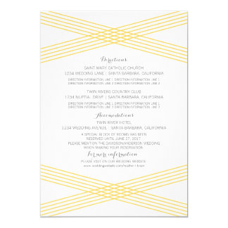 "Yellow Modern Deco Information Card 5"" X 7"" Invitation Card"