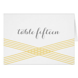 Yellow Modern Deco Table Number Card Greeting Card