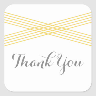 Yellow Modern Deco Thank You Stickers Square Sticker