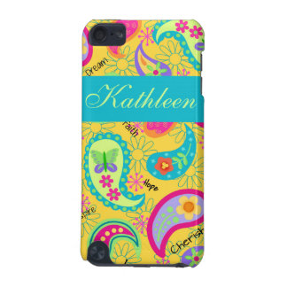 Yellow Modern Paisley Whimsy Personalized iPod Touch (5th Generation) Case