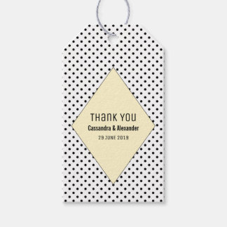 Yellow Modern Polka Dots Wedding Gift Tags