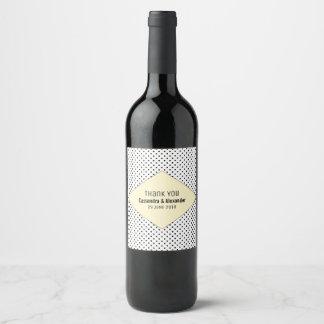 Yellow Modern Polka Dots Wedding Wine Label