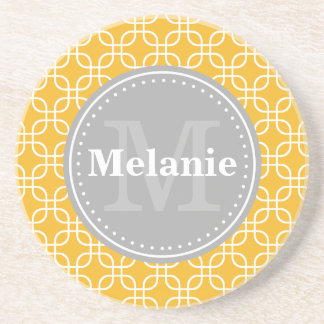Yellow Modern Squares Pattern Grey Monogram Coaster
