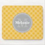 Yellow Modern Squares Pattern Grey Monogram Mouse Mat