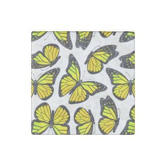 Yellow Monarch Butterfly Pattern Stone Magnet