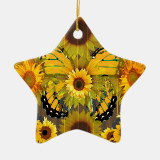 Yellow MONARCH  BUTTERFLY & Sunflower ART Christmas Ornament