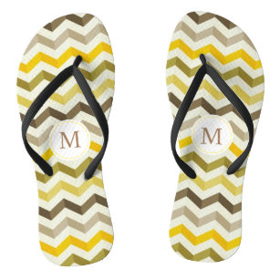000893c389f9c Yellow Monogram Chevron Pattern Flip Flops