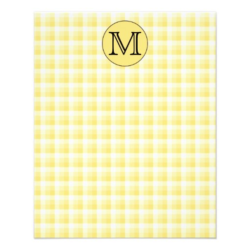 Yellow Monogram. Custom Letter and Check Pattern. Personalized Flyer