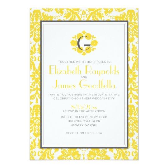 Yellow Monogram Damask Wedding Invitations