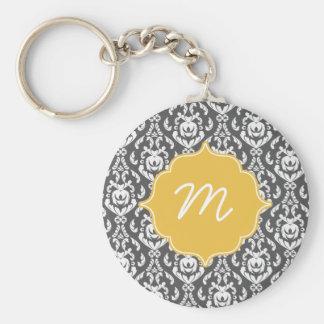 Yellow Monogram Dark Grey Damask Quatrefoil Basic Round Button Key Ring