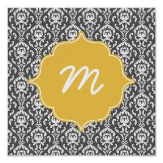 Yellow Monogram Dark Grey Damask Quatrefoil Poster