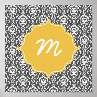Yellow Monogram Dark Grey Damask Quatrefoil Poster