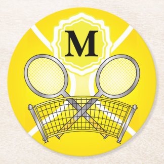 Yellow Monogram Tennis Round Paper Coaster