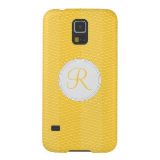 Yellow Monogram Thin Chevron Pattern Galaxy S5 Cases