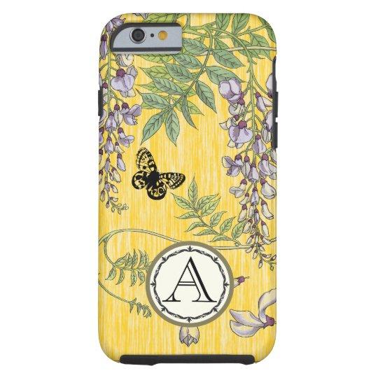 Yellow Monogram Vintage Wistria Flower Tough iPhone 6 Case