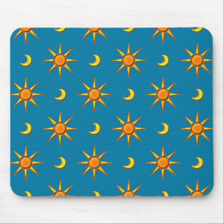 Yellow moon and sun pattern illustration mouse pad