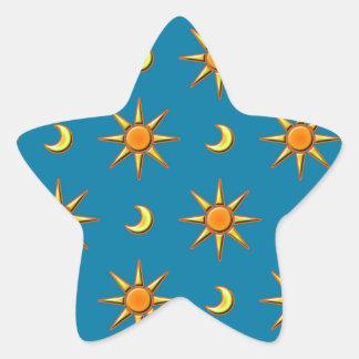 Yellow moon and sun pattern illustration star sticker