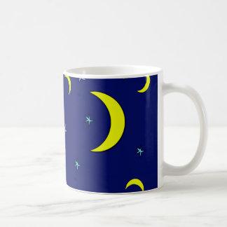 Yellow Moon Blue Night Stars Coffee Mug