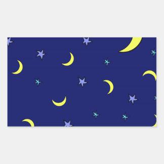 Yellow Moon Blue Night Stars Rectangle Sticker