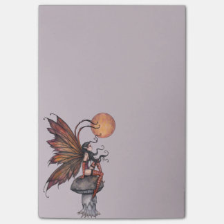 Yellow Moon of Autumn Fairy Fantasy Art Post-it Notes