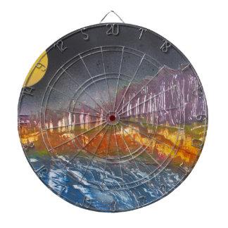 Yellow moon over metamorphic landscape dartboard