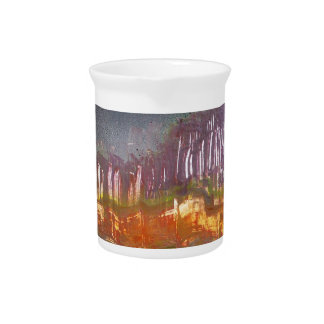 Yellow moon over metamorphic landscape drink pitcher
