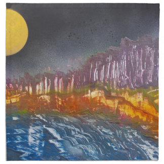 Yellow moon over metamorphic landscape napkin