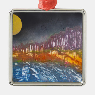 Yellow moon over metamorphic landscape Silver-Colored square decoration