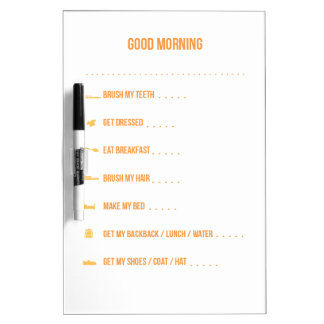 Yellow Morning Routine Dry Erase Board