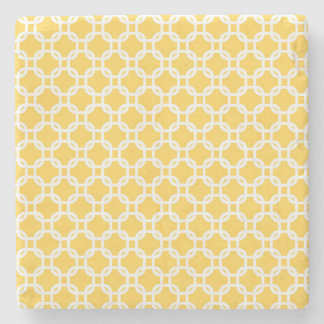 Yellow Moroccan Geometric Design Marble Stone Coaster