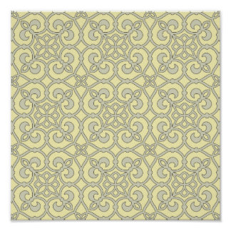 Yellow Moroccan Lattice Ornate Pattern Poster