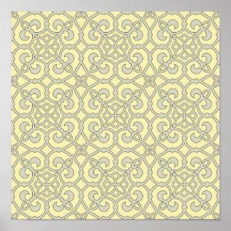 Yellow Moroccan Lattice Ornate Pattern Poster