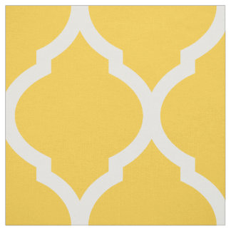 Yellow Moroccan Quatrefoil Large Scale Fabric