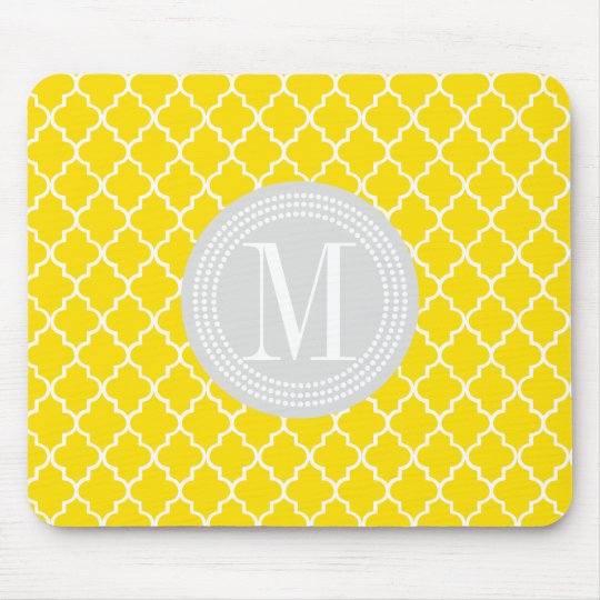 Yellow Moroccan Tiles Lattice Personalised Mouse Mat
