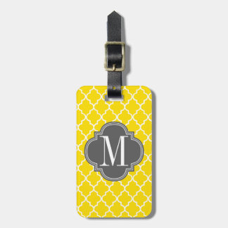 Yellow Moroccan Tiles Lattice Personalized Luggage Tag