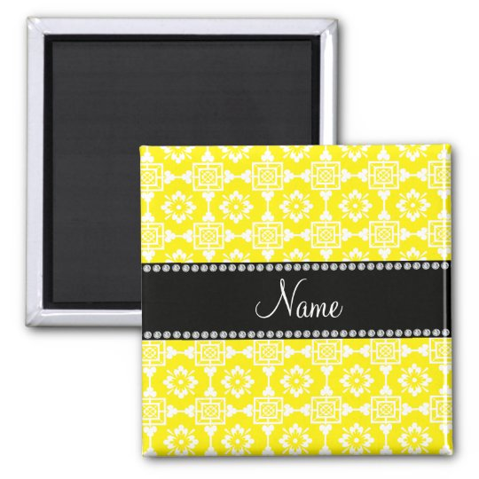 Yellow moroccan trellis personalised name square magnet