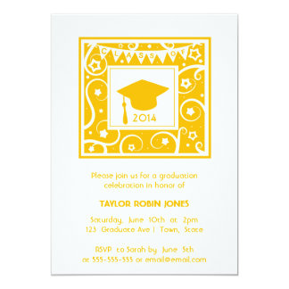 Yellow Mortar board Modern Graduation Invitations