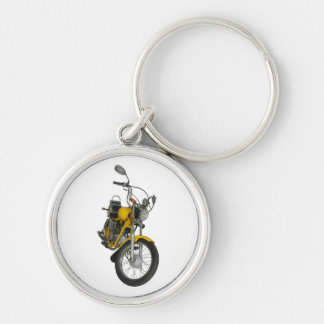 Yellow motorbike Silver-Colored round key ring