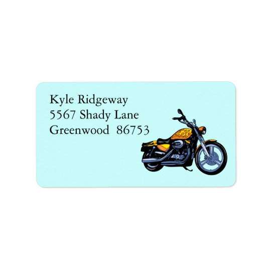 Yellow Motorcycle Address Label